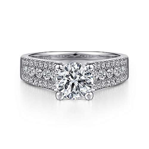 Channing 14k White Gold Round Wide Band Engagement Ring