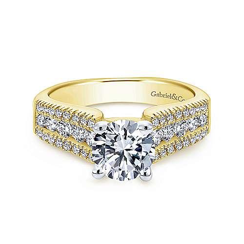 Gabriel - Channing 14k Yellow And White Gold Round Wide Band Engagement Ring