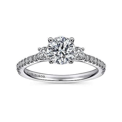 Chantal 14k White Gold Round 3 Stones Engagement Ring angle 5