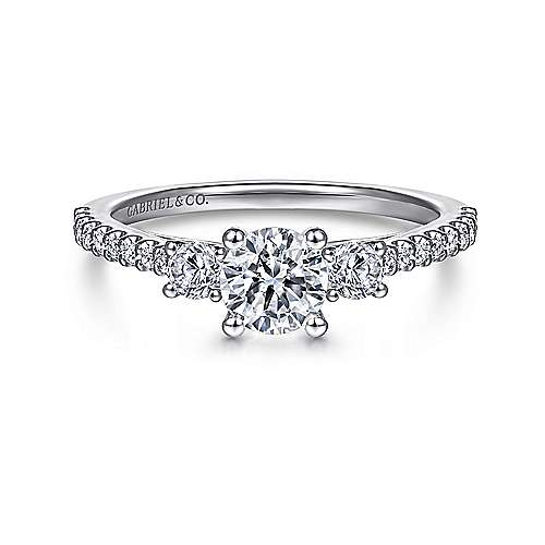 Gabriel - Chantal 14k White Gold Round 3 Stones Engagement Ring