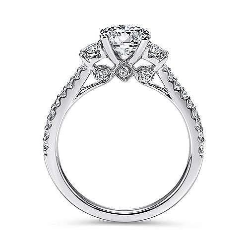 Chantal 14k White Gold Round 3 Stones Engagement Ring angle 2