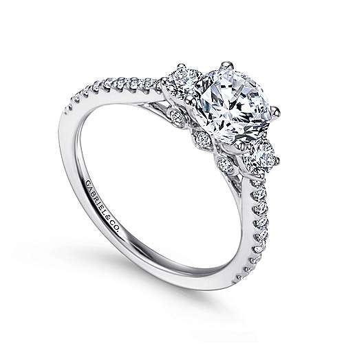 Chantal 14k White Gold Round 3 Stones Engagement Ring angle 3