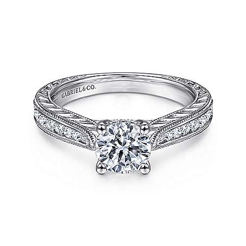 Gabriel - Charity 14k White Gold Round Straight Engagement Ring