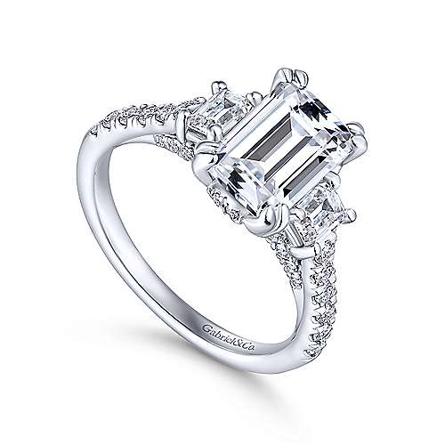 Charlene 18k White Gold Emerald Cut 3 Stones Engagement Ring angle 3