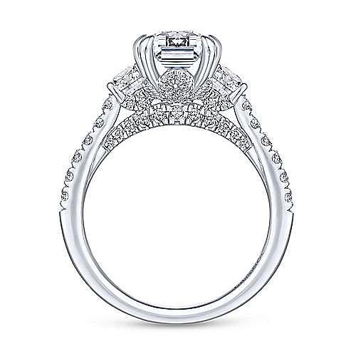 Charlene 18k White Gold Emerald Cut 3 Stones Engagement Ring angle 2