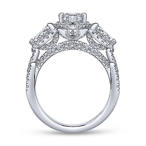 Charlene 18k White Gold Marquise  3 Stones Halo Engagement Ring angle 2