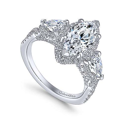 Charlene 18k White Gold Marquise  3 Stones Halo Engagement Ring angle 3