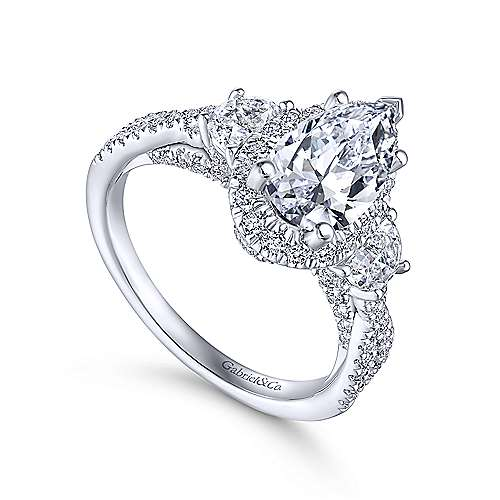 Charlene 18k White Gold Pear Shape 3 Stones Engagement Ring angle 3