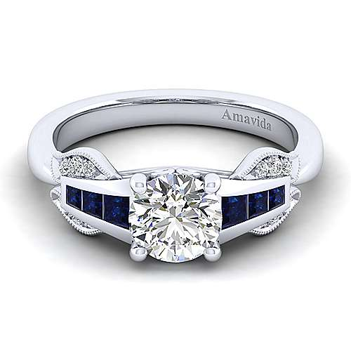 Gabriel - Charlie 18k White Gold Round Straight Engagement Ring