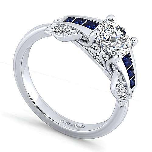 Charlie 18k White Gold Round Straight Engagement Ring angle 3