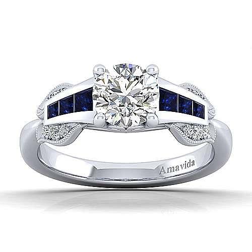 Charlie 18k White Gold Round Straight Engagement Ring angle 5