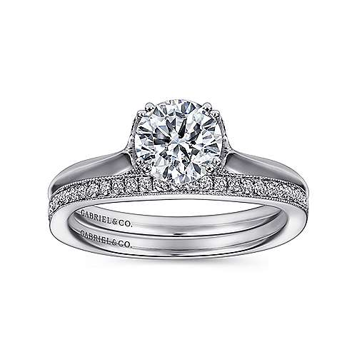 Charlotte 18k White Gold Round Solitaire Engagement Ring angle 4