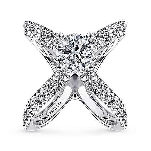Chasma 18k White Gold Round Split Shank Engagement Ring angle 5