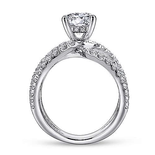 Chasma 18k White Gold Round Split Shank Engagement Ring angle 2