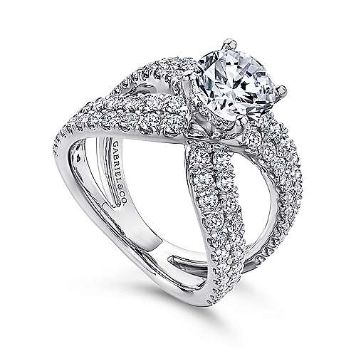 Chasma 18k White Gold Round Split Shank Engagement Ring angle 3