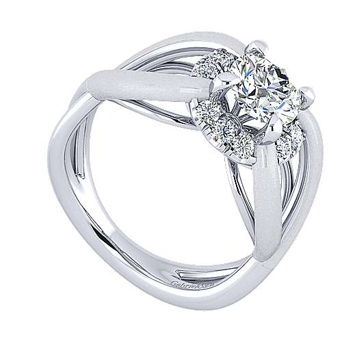 Chelly 14k White Gold Round Halo Engagement Ring angle 3