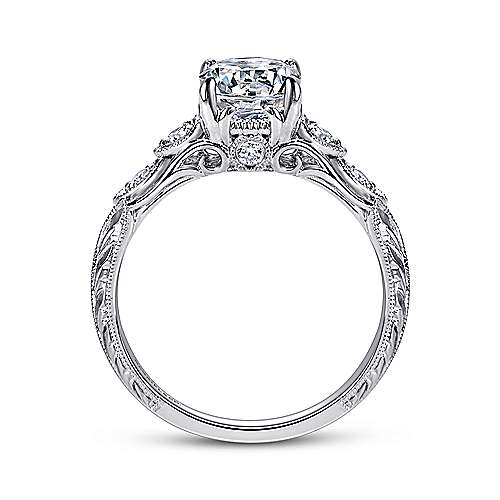 Chelsea 18k White Gold Round Straight Engagement Ring angle 2