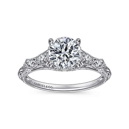 Chelsea 18k White Gold Round Straight Engagement Ring angle 5