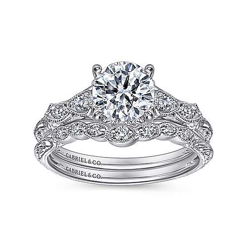 Chelsea Platinum Round Straight Engagement Ring angle 4
