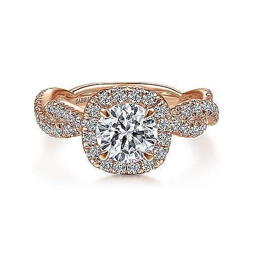 Gabriel - Chesapeake 18k Rose Gold Round Halo Engagement Ring