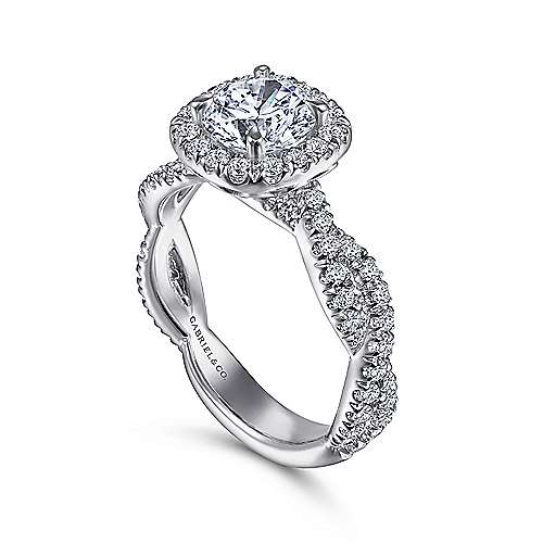 Chesapeake 18k White Gold Round Halo Engagement Ring angle 3