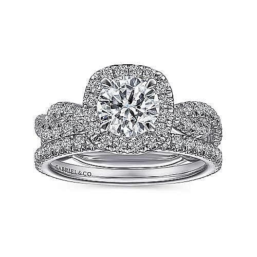 Chesapeake 18k White Gold Round Halo Engagement Ring angle 4