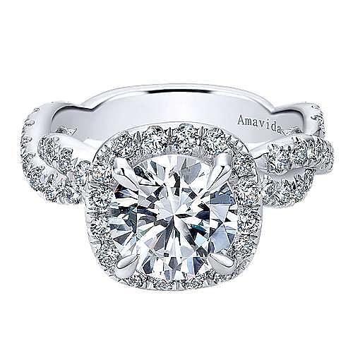 Gabriel - Chesapeake 18k White Gold Round Halo Engagement Ring