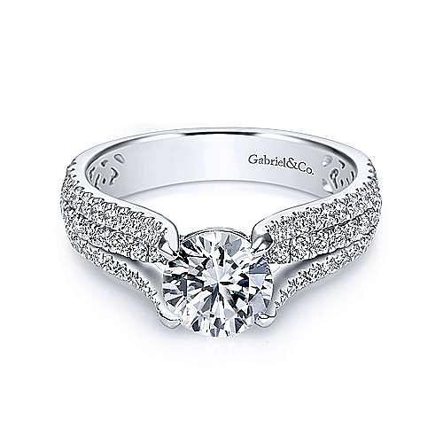 Gabriel - Chessie 14k White Gold Round Wide Band Engagement Ring