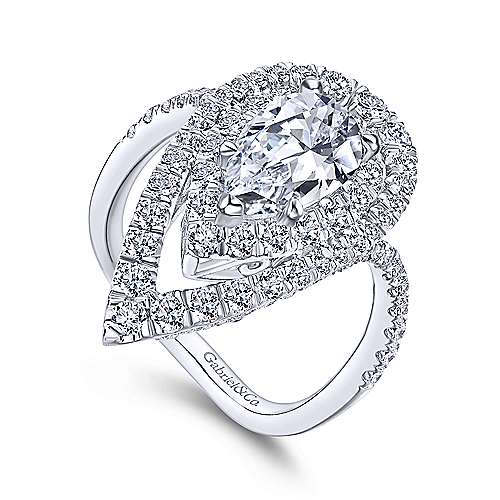Chiara 18k White Gold Pear Shape Double Halo Engagement Ring angle 3