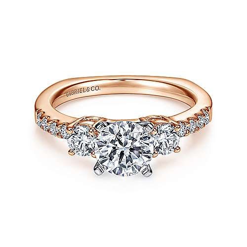 Gabriel - Chloe 14k White And Rose Gold Round 3 Stones Engagement Ring