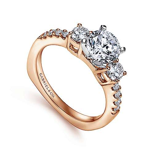 Chloe 14k White And Rose Gold Round 3 Stones Engagement Ring angle 3