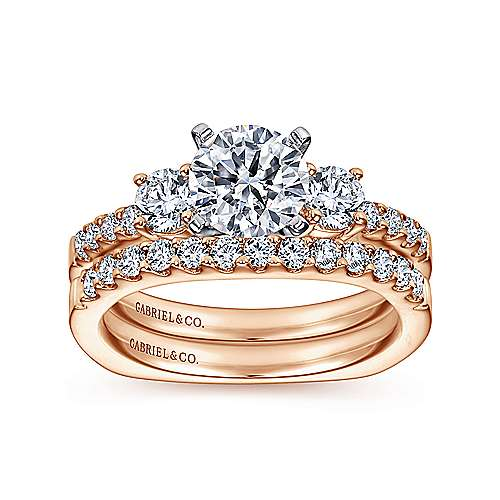 Chloe 14k White And Rose Gold Round 3 Stones Engagement Ring angle 4