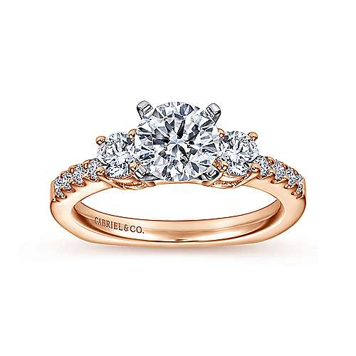 Chloe 14k White And Rose Gold Round 3 Stones Engagement Ring angle 5