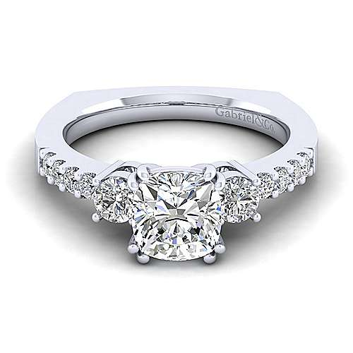Gabriel - Chloe 14k White Gold Cushion Cut 3 Stones Engagement Ring