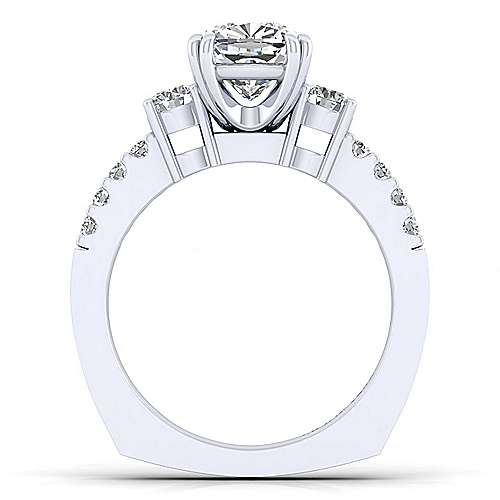 Chloe 14k White Gold Cushion Cut 3 Stones Engagement Ring angle 2