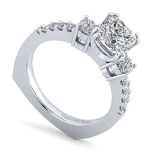 Chloe 14k White Gold Cushion Cut 3 Stones Engagement Ring angle 3