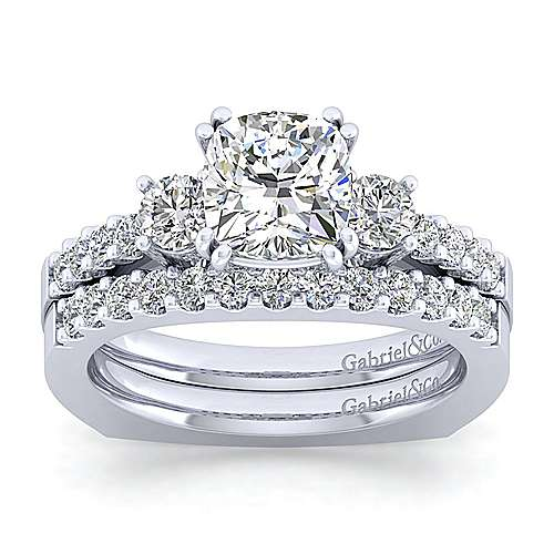 Chloe 14k White Gold Cushion Cut 3 Stones Engagement Ring angle 4