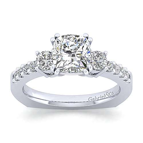 Chloe 14k White Gold Cushion Cut 3 Stones Engagement Ring angle 5
