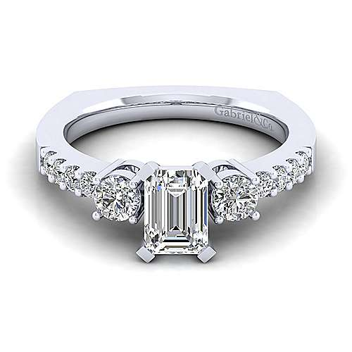 Chloe 14k White Gold Emerald Cut 3 Stones Engagement Ring angle 1