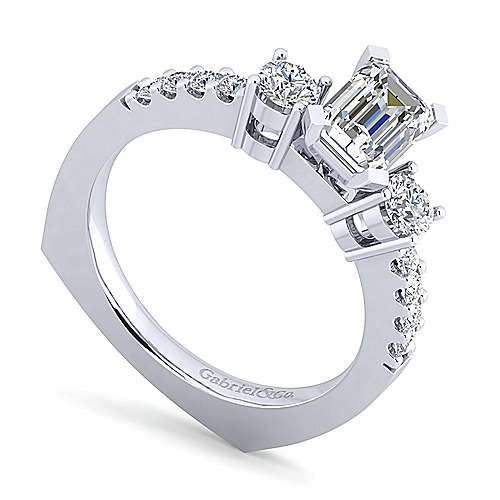Chloe 14k White Gold Emerald Cut 3 Stones Engagement Ring angle 3
