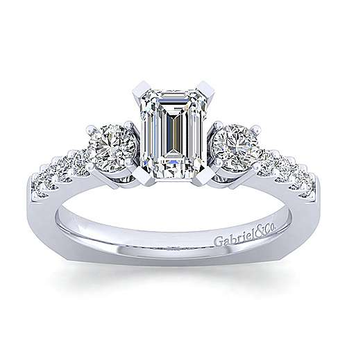 Chloe 14k White Gold Emerald Cut 3 Stones Engagement Ring angle 5
