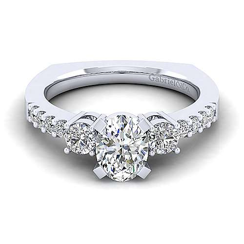 Gabriel - Chloe 14k White Gold Oval 3 Stones Engagement Ring
