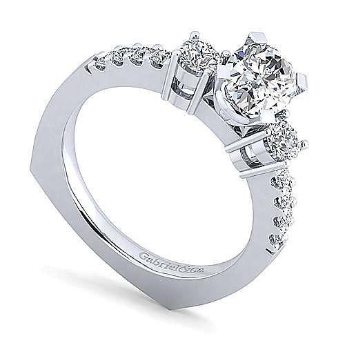Chloe 14k White Gold Oval 3 Stones Engagement Ring angle 3