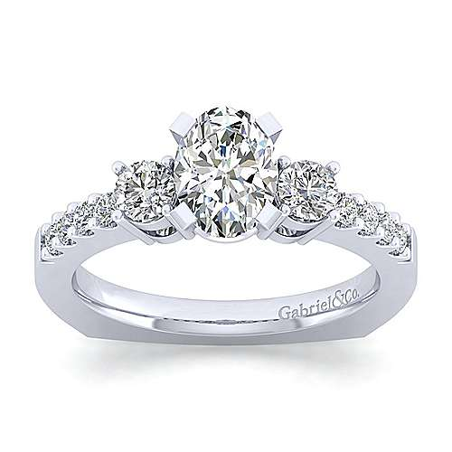 Chloe 14k White Gold Oval 3 Stones Engagement Ring angle 5