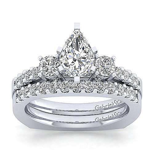 Chloe 14k White Gold Pear Shape 3 Stones Engagement Ring angle 4