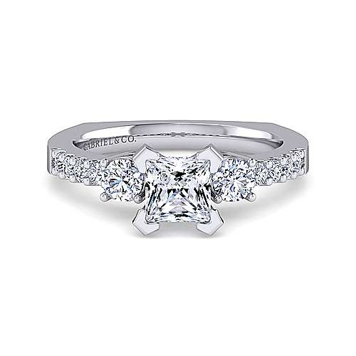 Chloe 14k White Gold Princess Cut 3 Stones Engagement Ring angle 1