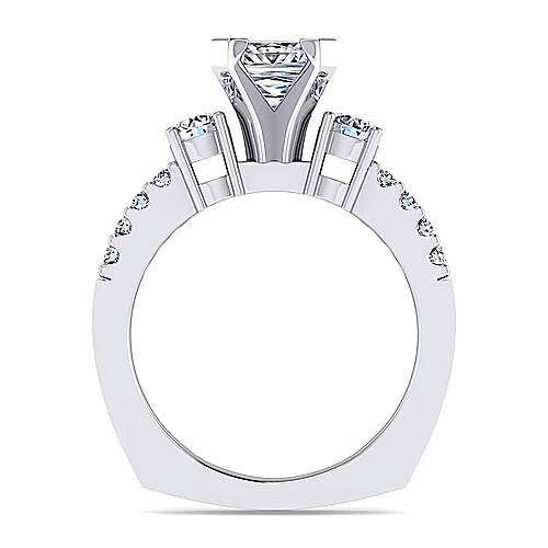 Chloe 14k White Gold Princess Cut 3 Stones Engagement Ring angle 2
