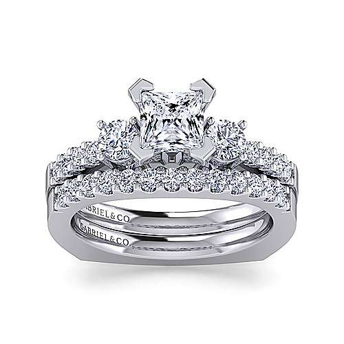 Chloe 14k White Gold Princess Cut 3 Stones Engagement Ring angle 4