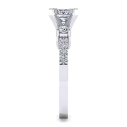 Chloe 14k White Gold Princess Cut 3 Stones Engagement Ring angle 5