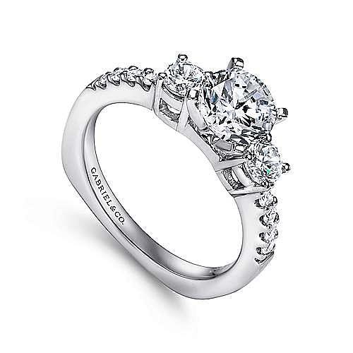Chloe 14k White Gold Round 3 Stones Engagement Ring angle 3